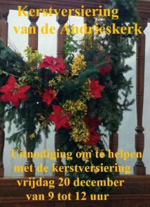 Uitnodiging om te helpen met de kerstversiering in  de Andrieskerk: vrijdag 20 december van 9 tot 12 uur